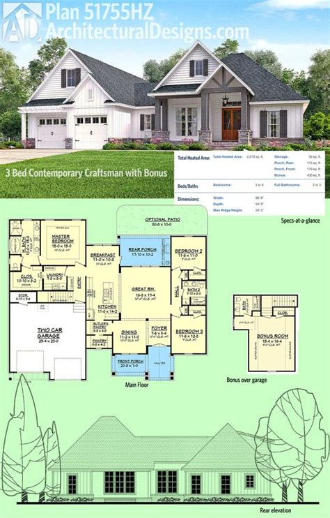 garage architectural plans plan 51755hz 3 bed contemporary craftsman with bonus garage architectural design house