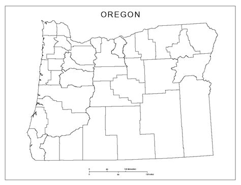 blank state map oregon blank map