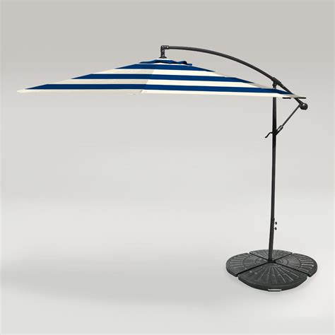Cafe Stripe Outdoor 10 Ft Cantilever Umbrella And Weight Patio Umbrella Base Weights