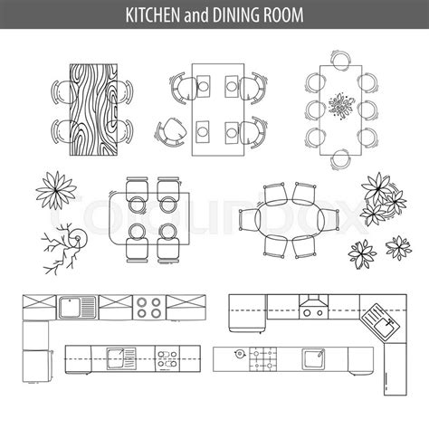 Set of linear icons for Interior top view plans. Isolated