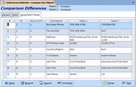Difference Table by Compare Two Microsoft Access Tables For Design And Data