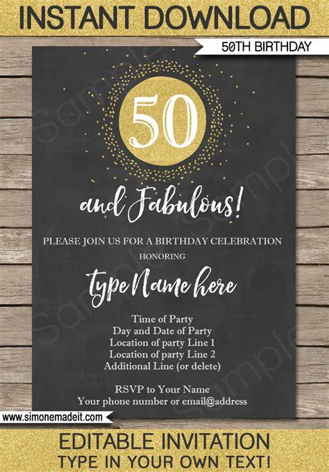 Chalkboard 50th Birthday Invitations Template Editable Printable Diy Gold Birthday Invitation Template