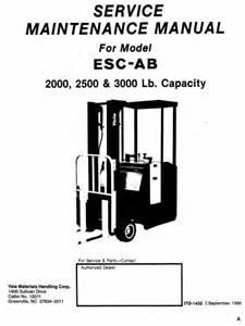 yale electric forklift truck esc020ab esc025ab esc030ab