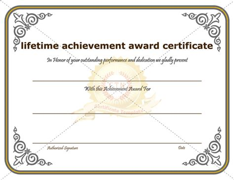 achievement awards templates lifetime achievement award certificate template
