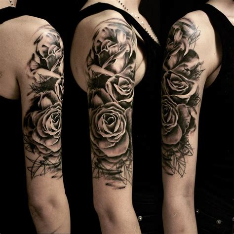 graphic roses on shoulder tattoo best tattoo ideas gallery