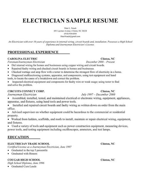 electrician resume sles sle resumes electrician