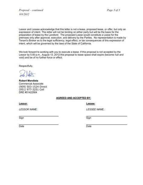 Letter Of Intent Retail Lease Doc 612792 Letter Of Intent Lease Commercial Space Sle Bizdoska