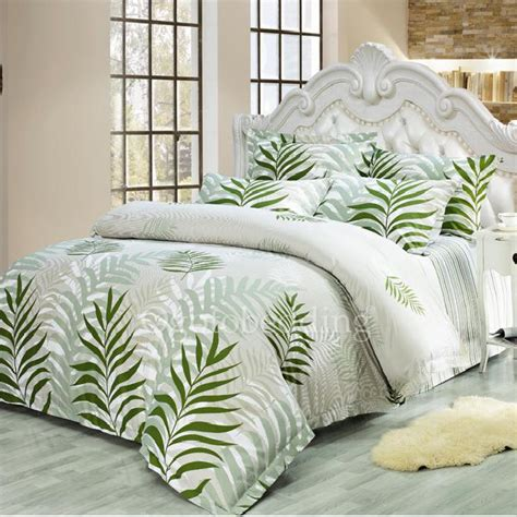 Patterned Comforters by Comfortable Cotton Green Leaf Patterned Duvet Cover