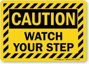 watch your step striped border caution sign free