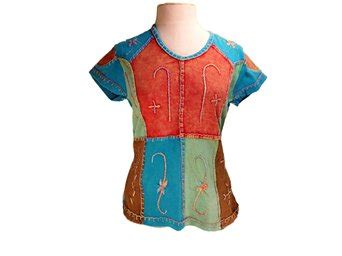 Handmade Shirt - buy hippie patchwork t shirt handmade and embroidered in