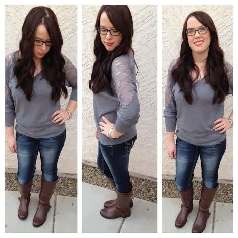 Sleeve Broad Brown the busy broad wardrobe wednesday grey shirt with lace