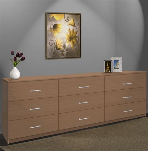 extra long bedroom dressers modern 9 drawer triple dresser 8 feet long contempo space