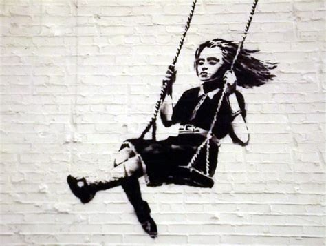 irish swinging banksy girl on a swing irish paintings
