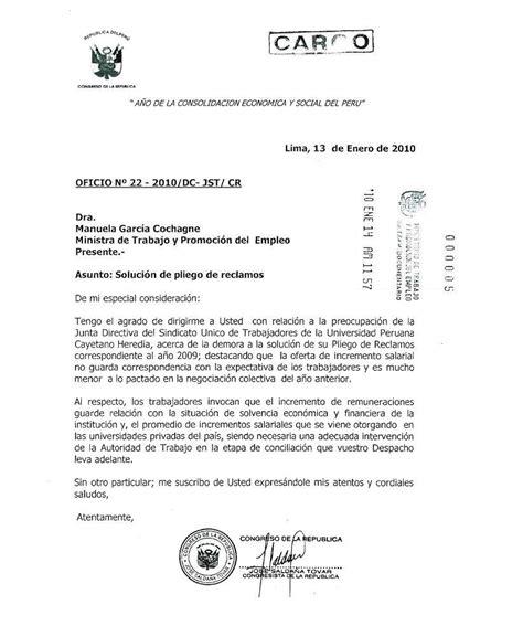 carta compromiso de la propuesta economica congresista de la rep 250 blica jos 233 salda 241 a tovar env 237 a carta a ministra de trabajo manuela