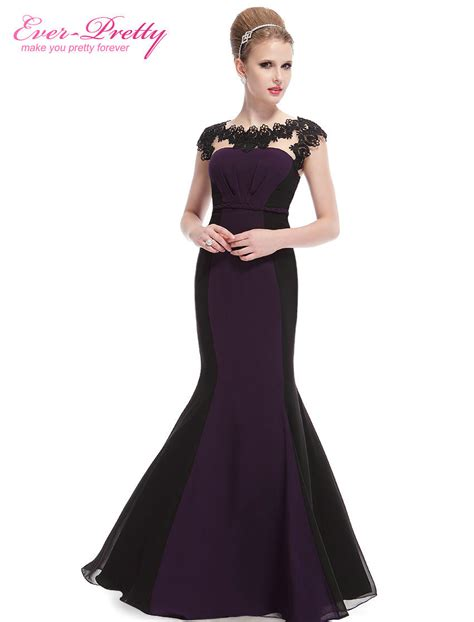Evening Dresses Mermaid Sexy Purple Elegant Lace Ever Black Lace Sleeved Maxi Dress