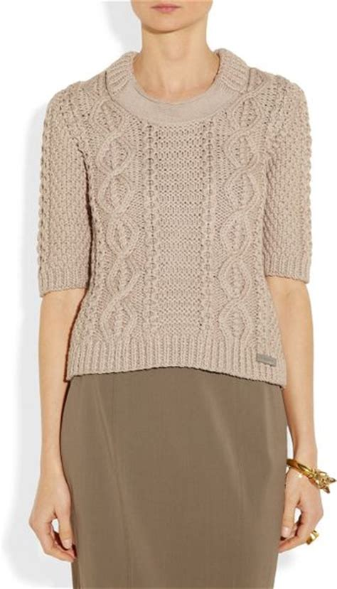 cropped cable knit sweater burberry cropped cable knit cotton blend sweater in beige