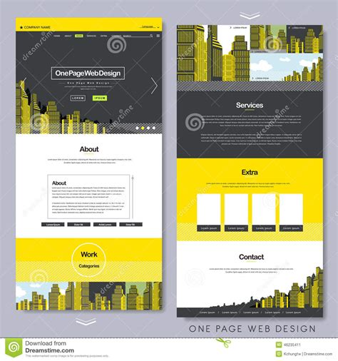free website templates for yellow pages one page website design with yellow city scene stock