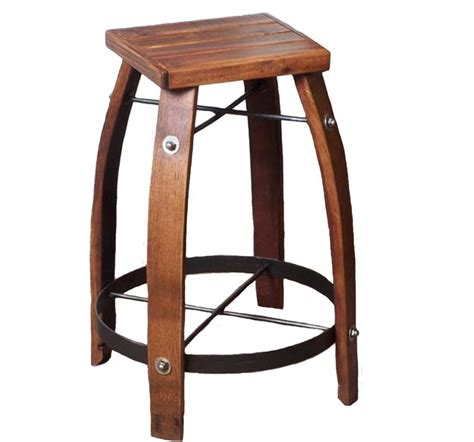 Reclaimed Wine Barrel Stools by Reclaimed Wine Barrel Stave Stool With Wood Seat Rustic
