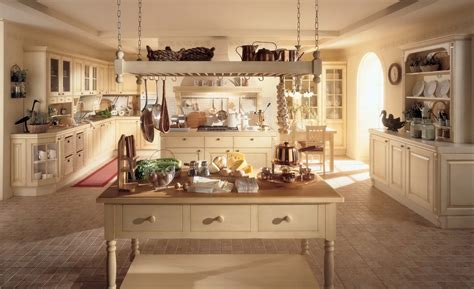 Large rustic country style kitchen decoration with old white wooden cabinet with mosaic