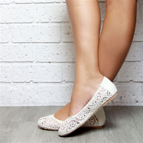 brautschuhe spitze stoff lace ivory ballet flat shoes soft leather inner and lace