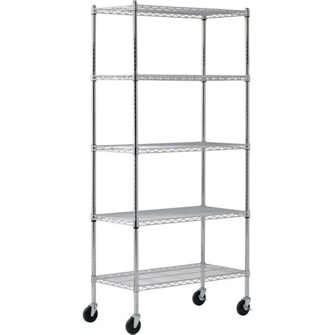 5 Shelf Mobile Chrome Wire Shelving Unit 36in L X 18in W Wire Shelving Racks