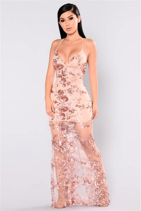Honor Sequin Dress   Rose Gold