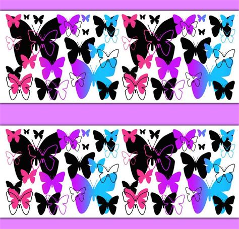rainbow butterfly wallpaper border wall decal