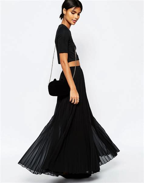 asos asos pleated maxi skirt at asos