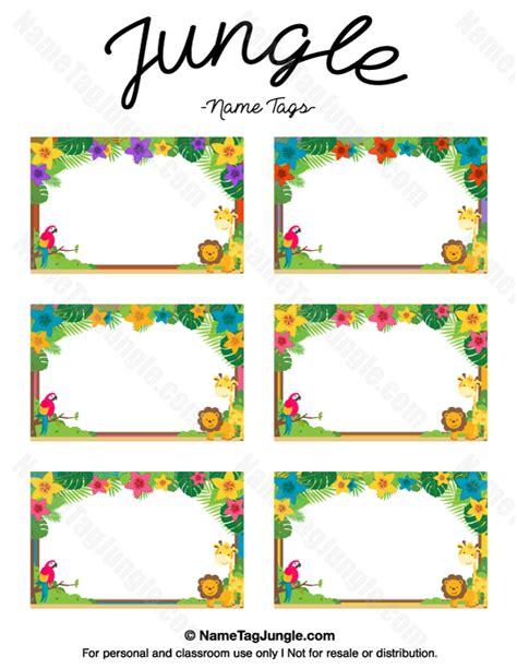 printable animal name plates free printable jungle name tags the template can also be