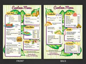Canteen Menu Template by Playful Menu Design For Leo Cullia By