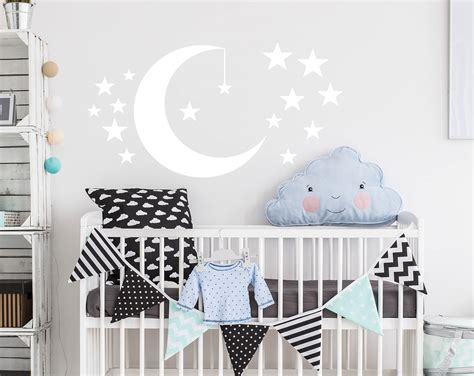 Nursery Wall Decal Moon And Stars Decals Nursery Decor Night Moon And Nursery Decor
