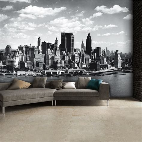 New York Skyline Wall Mural black and white new york city skyline wall mural 315cm x