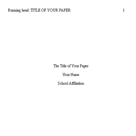 Apa format cover page template dissertation title page apa style