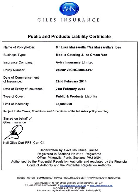 Public & products liability insurance   Insurance