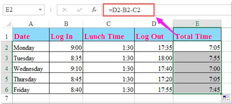 Work Hours Calculator Excel Spreadsheet by How To Calculate Hours Worked And Minus Lunch Time In Excel