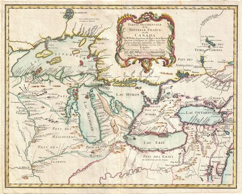 the great lakes map map of the pays d en haut 1755 cliosphere