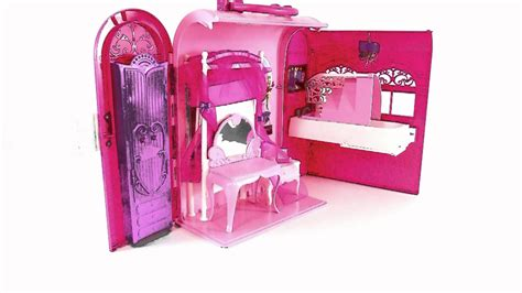 barbie doll house toys barbie dollhouse toys pink bed and bath set toy review youtube