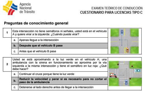 ant preguntas para renovacion de licencia tipo b preguntas para sacar licencia de conducir tipo c conmicelu
