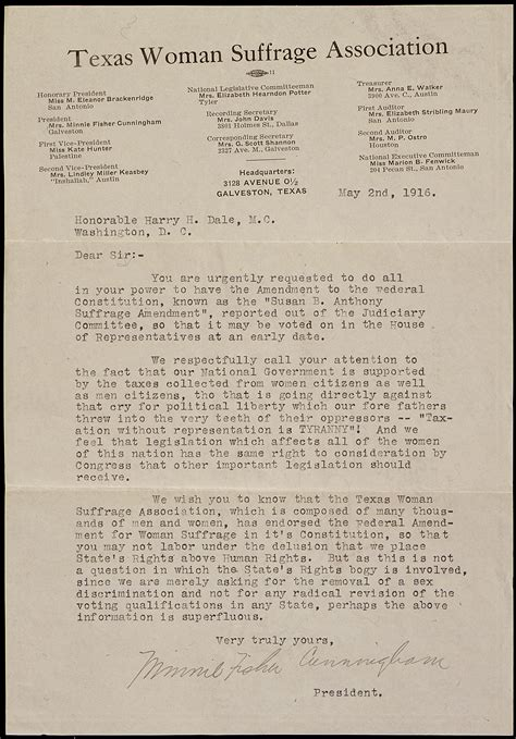 File:Petition from Minnie Fisher Cunningham of the Texas Woman Suffrage Association
