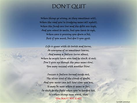 Don T Quit motivational poem the don t quit dont give up world