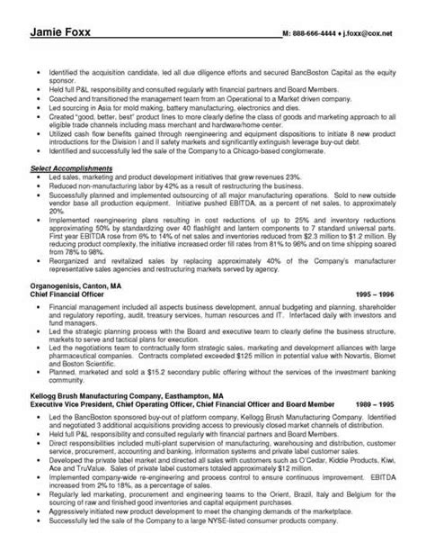 resume chief administrative officer 28 images cfo resume sle chief financial officer resume