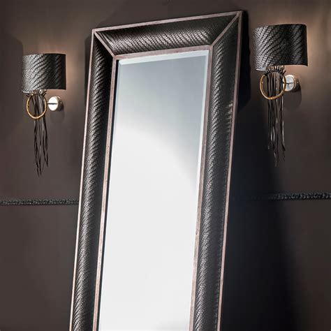italian floor standing woven leather mirror