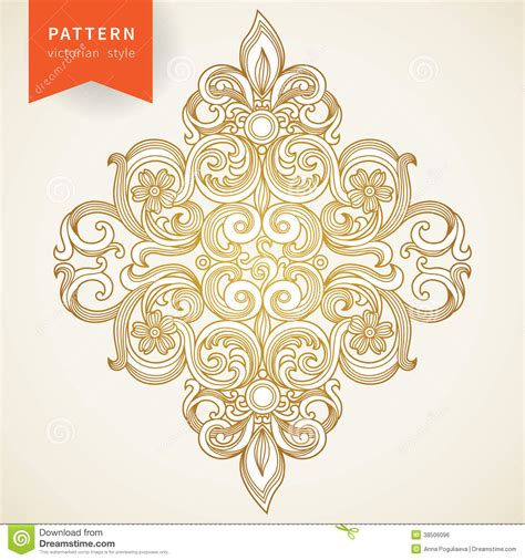 Vector Baroque Ornament In Victorian Style. Royalty Free