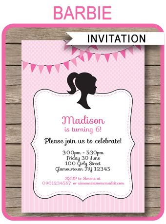 printable invitations barbie barbie party invitations template birthday party
