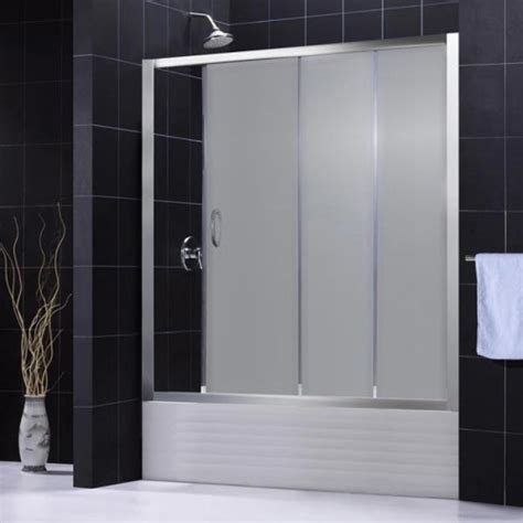 sliding glass shower doors for bathtubs dreamline infinity 60 inch frosted glass tub sliding