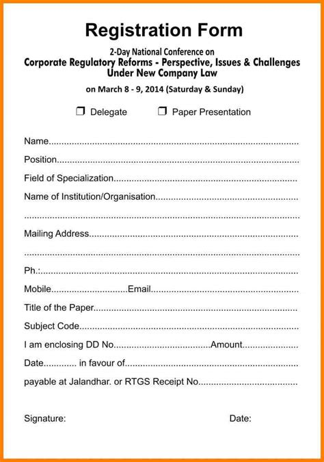 Registration Form Template Free 7 registration forms template word meal plan spreadsheet
