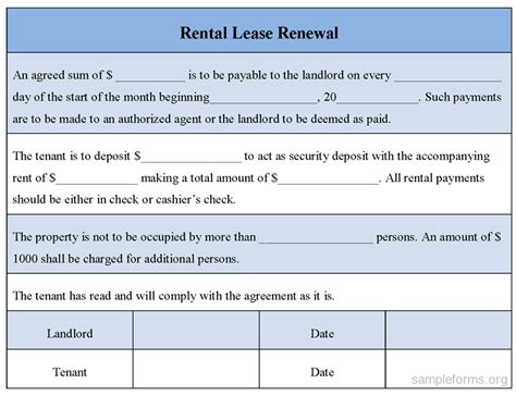 Renew Lease Agreement Letter Rental Lease Renewal Form Sle Rental Lease Renewal Form Sle Forms