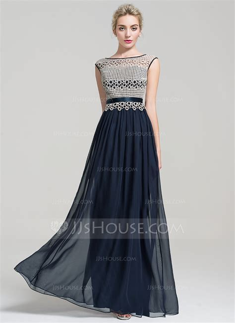 A Line/Princess Scoop Neck Floor Length Chiffon Evening