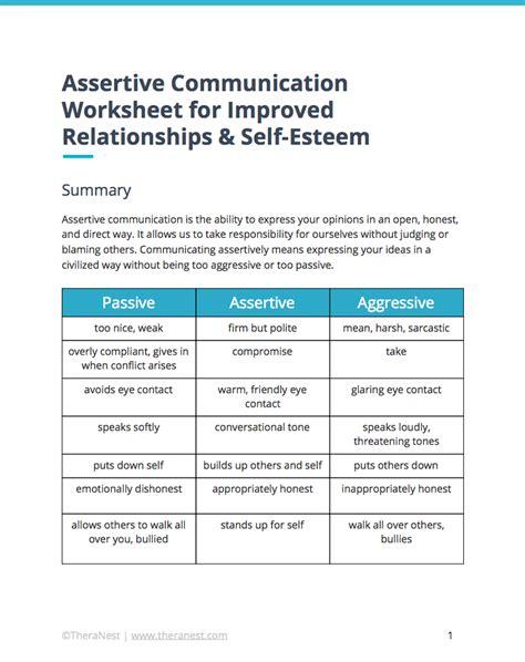 printable assertiveness quiz assertive communication worksheet self esteem worksheets
