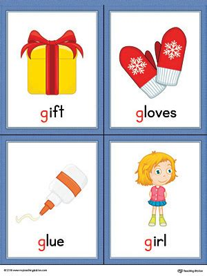 Gift Starting With Letter G Letter G Words And Pictures Printable Cards Gift Gloves Glue Color